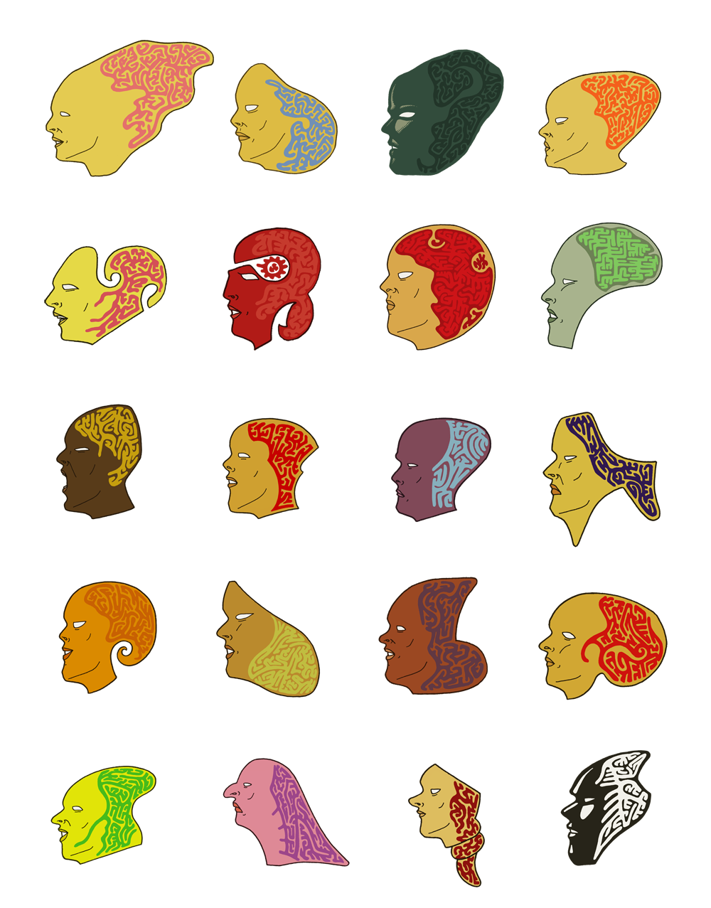 A series of illustrations showing the human profile and the labyrinth of the mind.