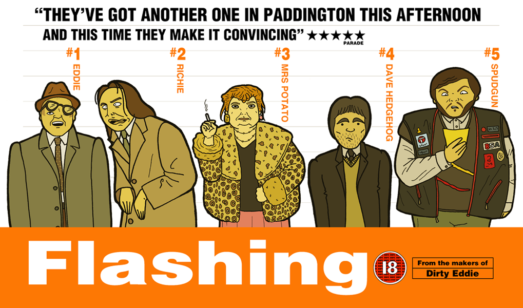 An illustration based on a crossover between the BBC comedy series Bottom, and the movie Trainspotting.