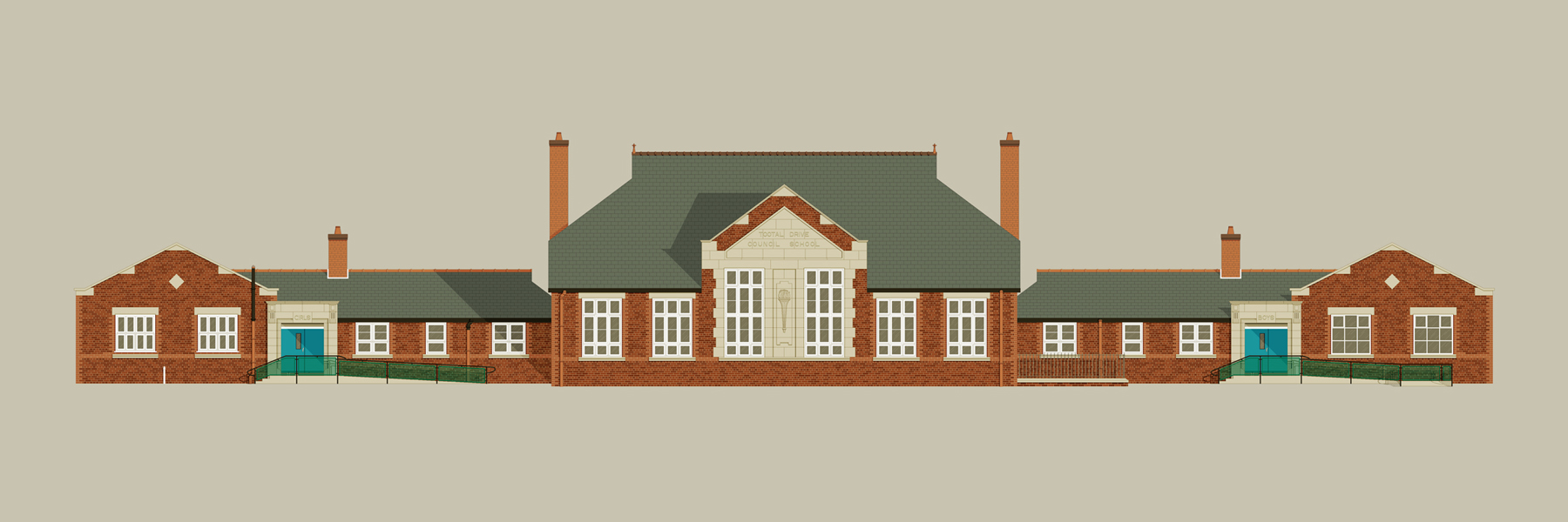 A pixel art illustration of Tootal Drive Primary School in Salford.