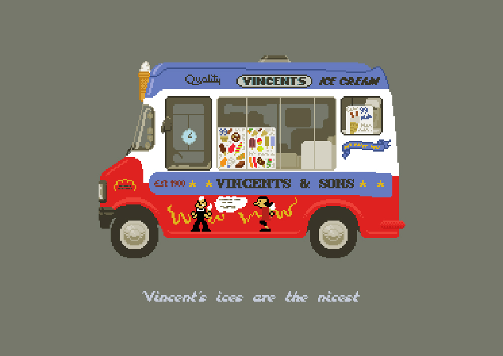 A pixel art illustration of an ice cream van, the name of which is Vincents.