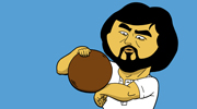 An illustration of Beardy training with a ball, based on the Kung Fu movie Knockabout.