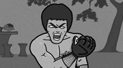 An illustration of the movie Enter the Dragon, referencing the famous Muhammad Ali knockout poster.